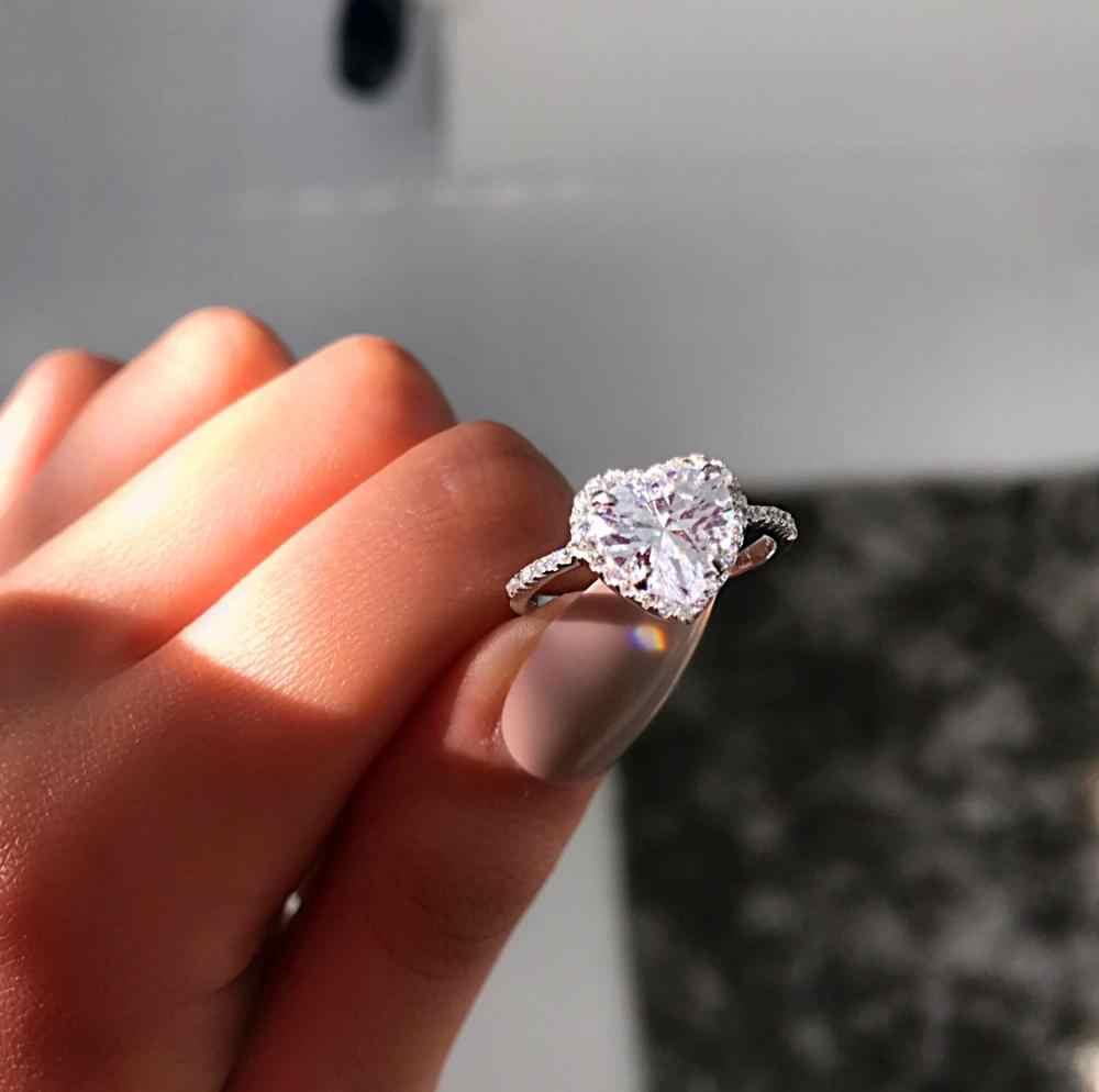 רומנטי נשי גדול לשמוע טבעת עם קריסטל זירקון אבן בציר כסף קריסטל חתונת טבעת אירוסין הבטחת טבעות לנשים