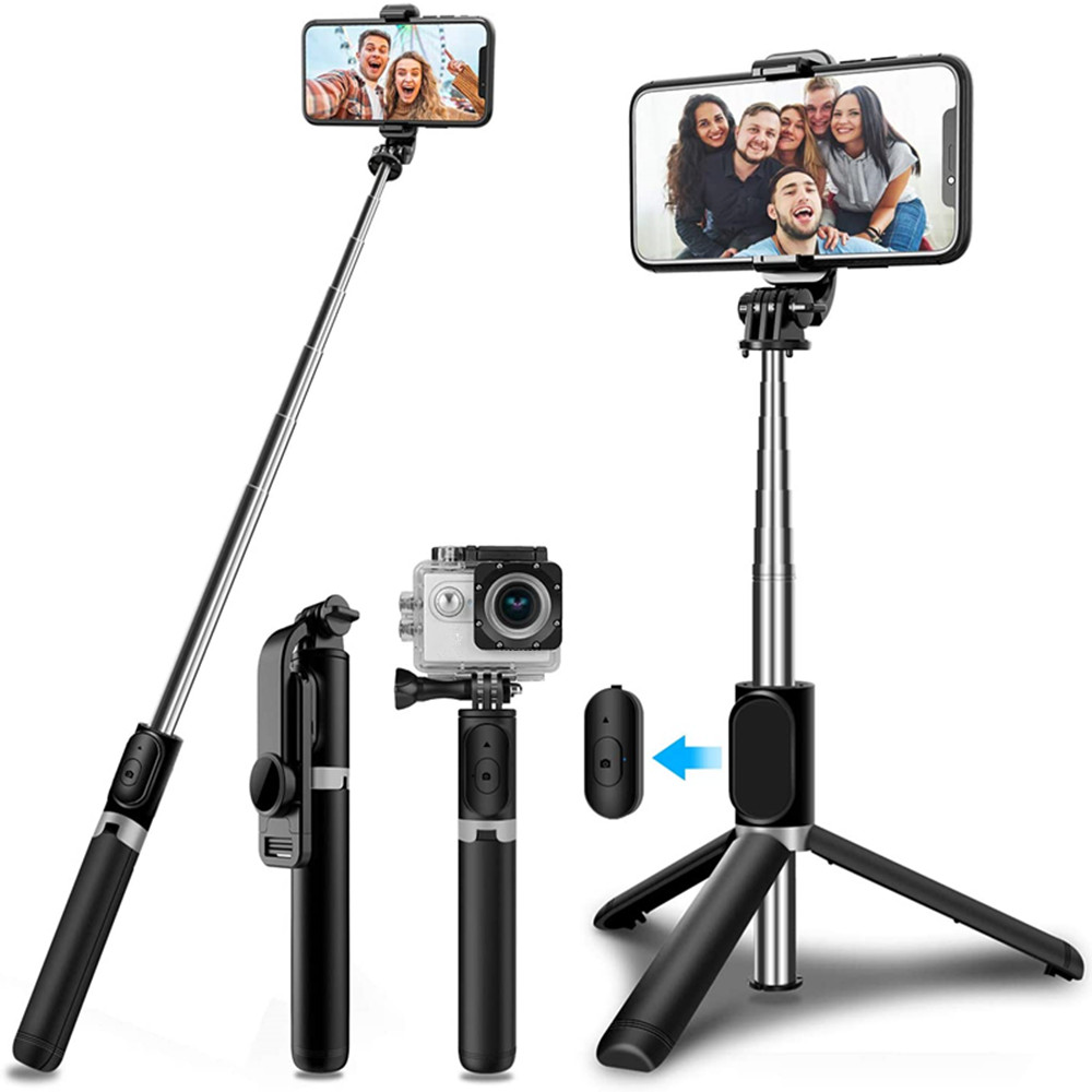 4 1 kablosuz Bluetooth selfie sopa ile tripod alaşım öz selfie sopa akıllı telefon selfie-sopa 3 telefonu için iphone kamera