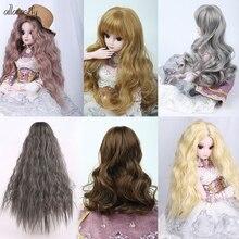 Allaosify серебристо-серый Боб Длинные прямые и кудрявые челки 1/3 1/4 BJD парики высокотемпературное волокно для волос куклы