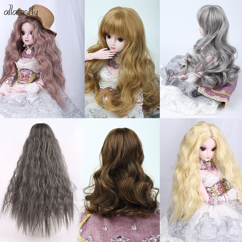 """8-9/"""" 1//3 BJD Medium Light Silver Gray Straight Wig LUTS Doll SD MSD Soom Hair"""