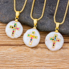Wholesale Trendy Necklace Gold Color Chain Copper CZ Cross Natural Pearl Pendant Choker For Women Engagement Jewelry