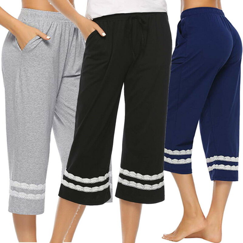 Casual Women Sleepwear Pajama Pants Sleep Cropped Lounge Bottoms Feamle Loose Stripe Lace Sleep Bottoms