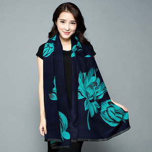 Image 5 - 2019 New Autumn Winter Warm Scarf For Women/Lady Soft Cashmere Pashmina Shawls Print Flower Two Side Cashmere Female Wraps Capes