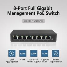 8 port full Gigabit managed POE Switch ieee802.3af/at Support for Hikvision IP Camear Poe gigabit  8 port poe switch