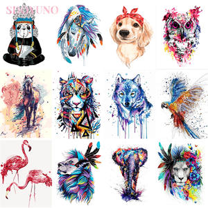 Pictures Frame Acrylic-Paint-Kits Painting-By-Numbers Animals Colorful Adults with