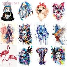 Diy масляные цветные животные живопись по номерам с рамкой для