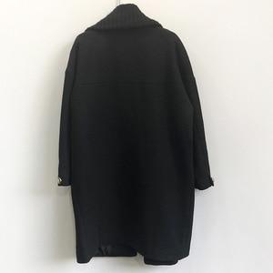 Image 4 - Abrigo largo de lana de invierno a la moda para mujer, abrigo de mezcla de lana con doble botonadura y chaqueta con cuello vuelto