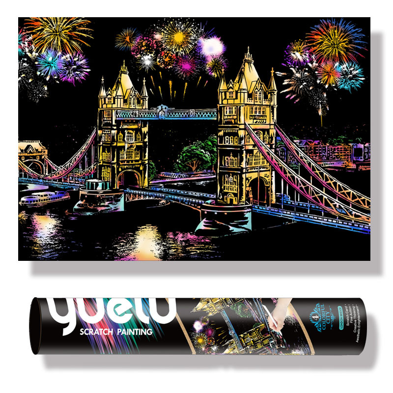 Reel Extra Large 75*52cm Magic Scratch Art Crafts World Landscape Scraping Paintings Paper Adult decompression toys kids toys