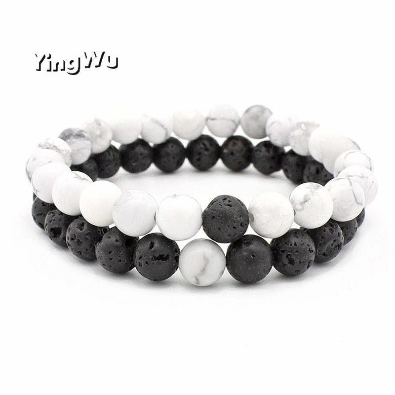 Yingwu Natural Stone Bracelet Men 8mm Lava Beads Braslet For Men Classic Cool Biker Couple Braclets Gift
