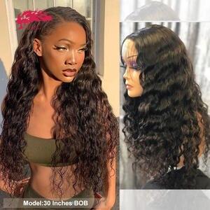 Wig Front-Wigs Lace Closure Human-Hair Wavy Virgin Natural-Black Women Brazilian 180-%/250%Density