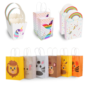 13pcs Animals bags Treat kids or guests Gift bag with handle Jungle safari Box Candy packing Birthday party favors decoration(China)