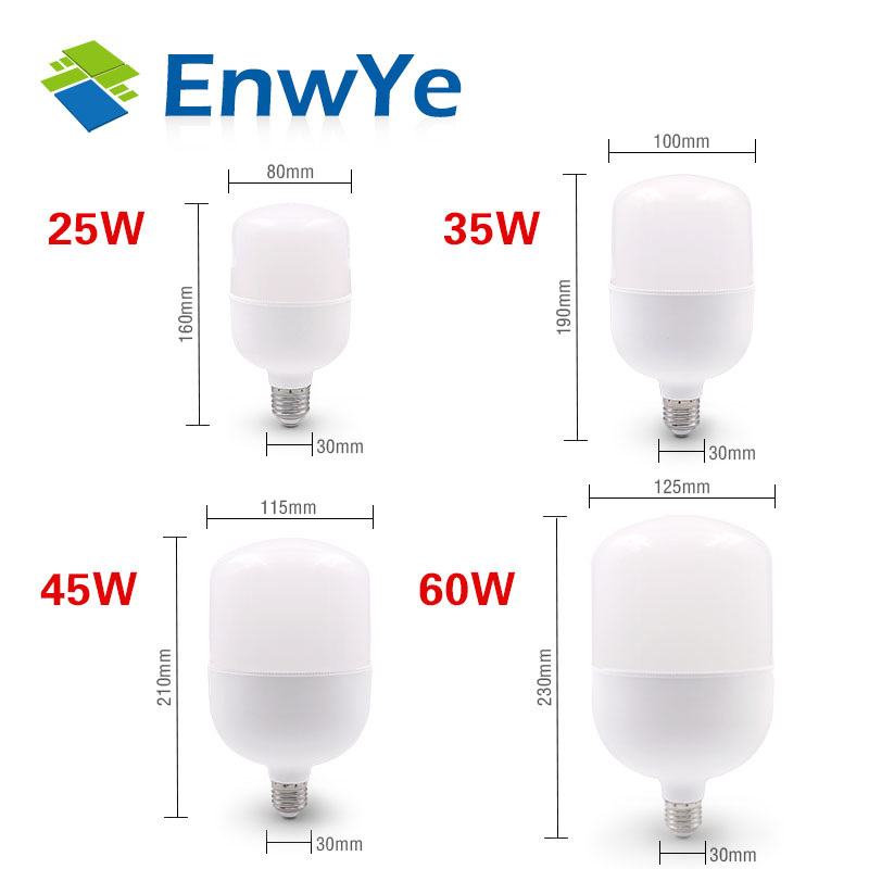 EnwYe LED E14 LED Light E27 LED Bulb AC 220V 230V 240V 60W 45W 35W 25W 20W 18W 15W 12W 9W 6W 3W Lampada LED Spotlight Table Lamp