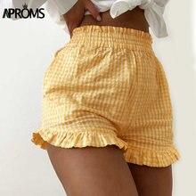 Aproms-pantalones cortos con estampado de cuadros amarillos para mujer, ropa de calle Vintage con volantes y bolsillos de cintura alta, color negro, 2020