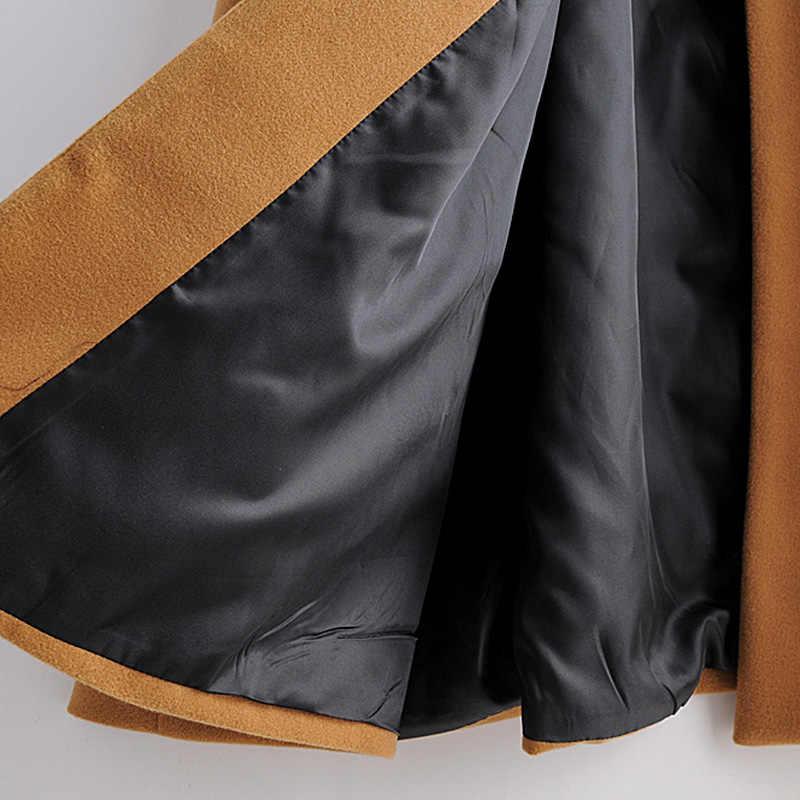 빈티지 가을 겨울 새로운 여성 나이트 클럽 기질 유럽 미국 대형 망토 따뜻한 모직 코트 모직 코트 vestidos