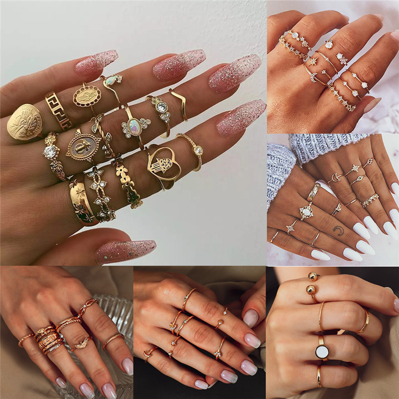 LETAPI Boho Vintage Gold Color Knuckle Rings For Women Crystal Geometric Female Finger Rings Set Jewelry Gifts