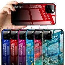 100 Stks/partij Voor Iphone 11 Pro Max Hard Gehard Glas Marmer Gradiënt Terug Soft Side Case Voor Iphone 11