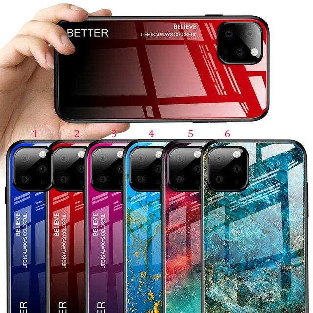 100 adet/grup iPhone 11 Pro Max sert temperli cam mermer degrade arka yumuşak yan kılıfı iPhone 11