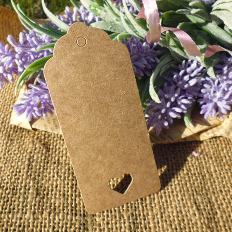 500 pièces Kraft cadeau étiquette avec coeur évidé chanvre chaîne inclus coeur Style fête de mariage papier étiquette volante papier cartes vêtement étiquette