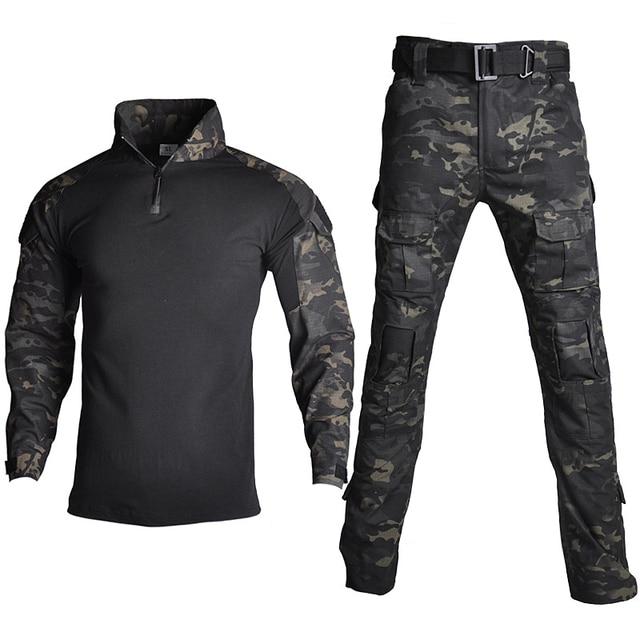 Camouflage Combat Shirt Pants Suit Military Tactical Uniform US Army BDU Multicam Black Men Airsoft Sniper Camo Hunting Clothes 3