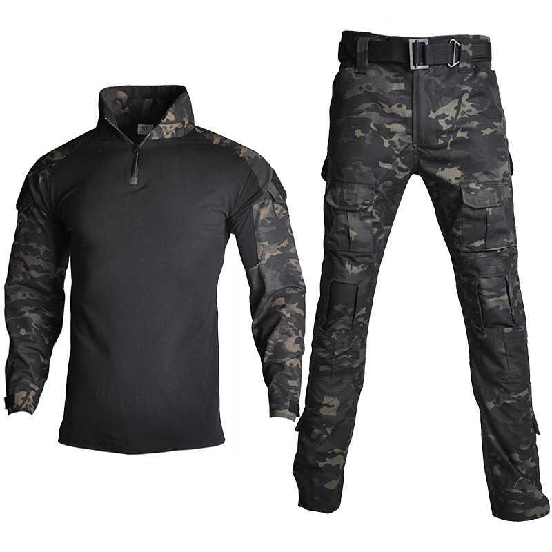 Kamuflaż koszula bojowa spodnie garnitur taktyczna wojskowa mundur US Army BDU Multicam czarny mężczyźni Airsoft Sniper Camo polowanie ubrania