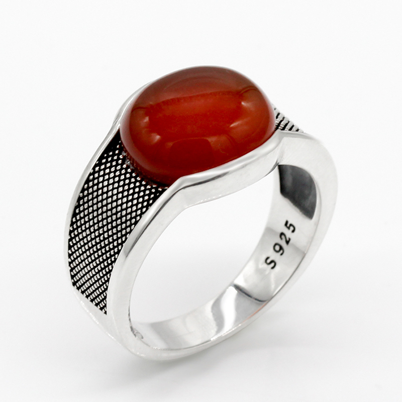New Natural Onyx Stone Ring For Men Solid 925 Sterling Silver  Thai Silver Red Semi precious Stone Men Ring Turkish JewelryRings   -