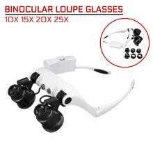 10X 15X 20X 25X LEVOU Lupa de Medição Duplo Eye Glasses Loupe Lens Jeweler de Reparação do Relógio Profissional com 8 Lente lâmpada LED