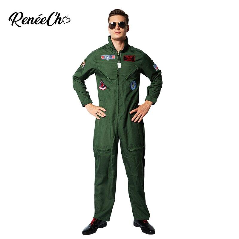 Reneecho Men Top Gun Costume Flight Suit Costume Fighter Pilot Jumpsuit With Necklace Halloween Costume For Adult