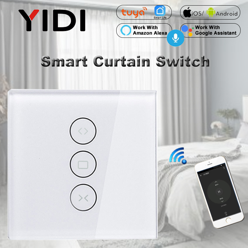 WiFi Smart Curtain Switch Tuya APP Voice Wireless Remote Control Touch Switch For Curtain Motor Blind Roller Shutter Switch