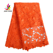 orange water soluble lace fabric high quality african guipure cord with stones ang beads cheap trim AMY722C-6