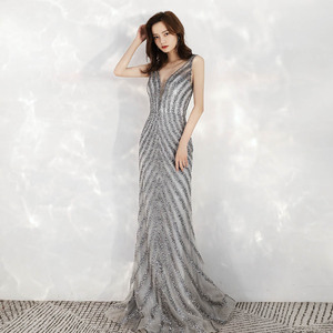 Image 3 - 2020 New Arrival Elegant V Neck Gray Long Evening Dresses Mermaid Sequined Beads Dress Party Evening Gowns