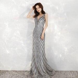 Image 3 - 2020 새로운 도착 우아한 v 목 회색 긴 이브닝 드레스 인어 스팽글 비즈 드레스 파티 이브닝 가운