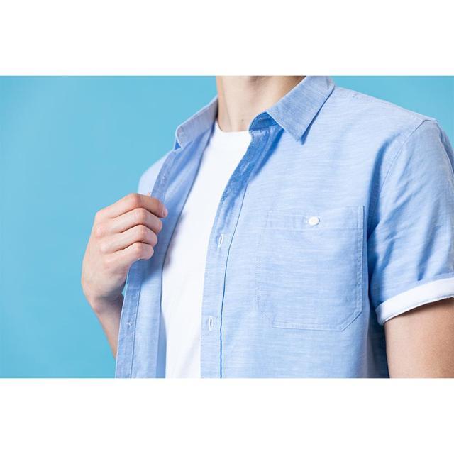 Summer cotton linen shirt with short sleeves