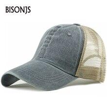 BISONJS к 2020 году новых женщин сетки бейсбольная кепка мужская мода мыть хлопок шляпы сплошной цвет воздухопроницаемый Солнца шляпа регулируемая snapback шапки
