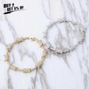 Image 2 - JinAo Hip Hop Jewelry staggered Pattern length x knot  Gold Silver color Prong  Setting AAA Cubic Zircon 6times plating Bracelet