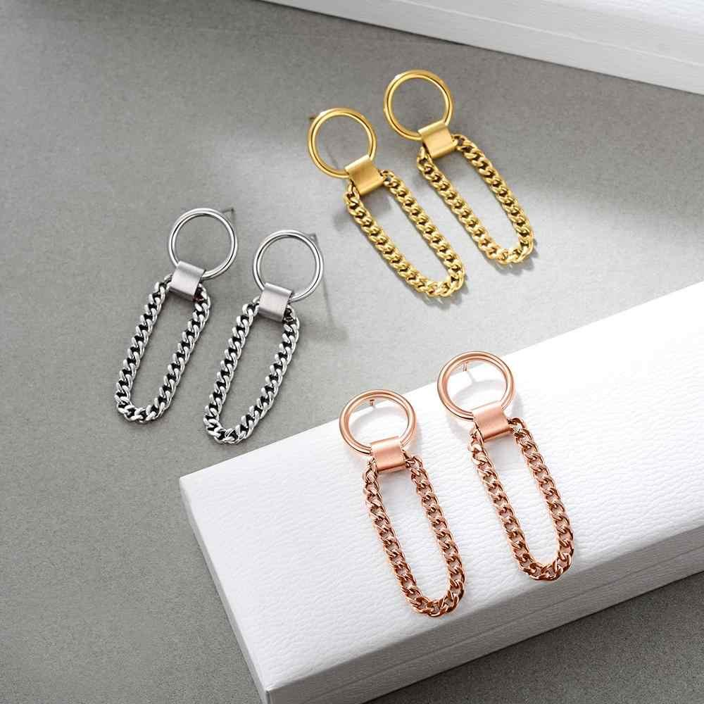 E Sieraden Chain Link Drop Oorbellen Voor Vrouwen Hip-Hop Dangle Earring Mode-sieraden 316 Roestvrij Staal Rose Goud zilver Kleur