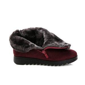 Image 4 - בתוספת גודל נשים מגפי שלג חם קטיפה רך תחתון חורף נעלי אישה קרסול מגפי צאן אמהות כותנה נעלי Botas Mujer SH09093