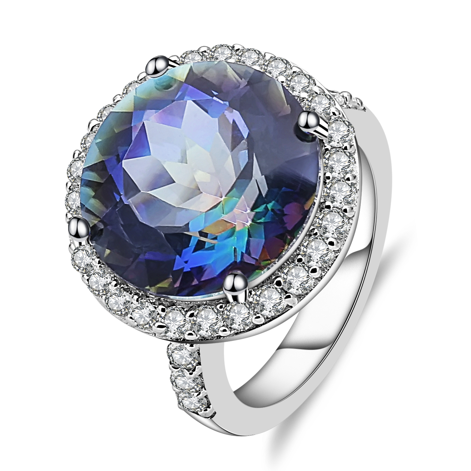 Gem's Ballet 925 Sterling Silver Cocktail Rings 13.00Ct Natural Blueish Mystic Quartz Gemstone Ring For Women Fine Jewelry