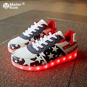 Image 2 - Детские светящиеся кроссовки для девочек и мальчиков, светодиодная Светильник светкой, на светящейся подошве, размеры 30 44