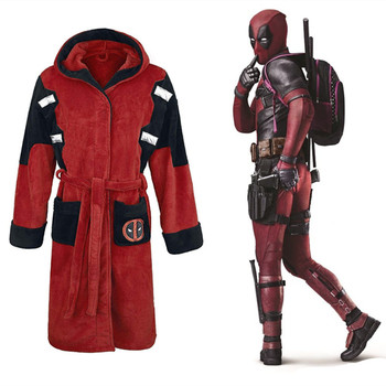 Disfraz de Cosplay de Halloween de Deadpool con capucha, disfraz de superhéroe de Wade Wilson, albornoz de noche, ropa de cama estampada, pijamas para hombre y mujer