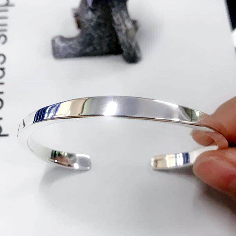 XIYANIKE 925 Sterling Silver New Fashion Glossy Solid Bracelets Bangles For Women Adjustable Handmade Charm Jewelry Gifts 4