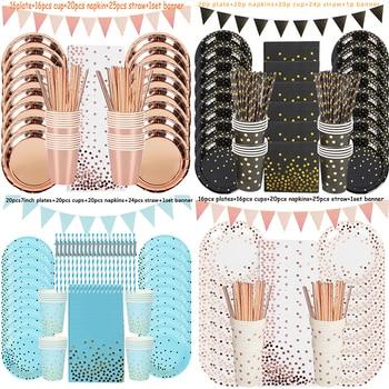 Украшения на день рождения, одноразовые столовые приборы, бумажные соломинки, чашки, тарелки, баннерные салфетки, для мальчиков и девочек, д...