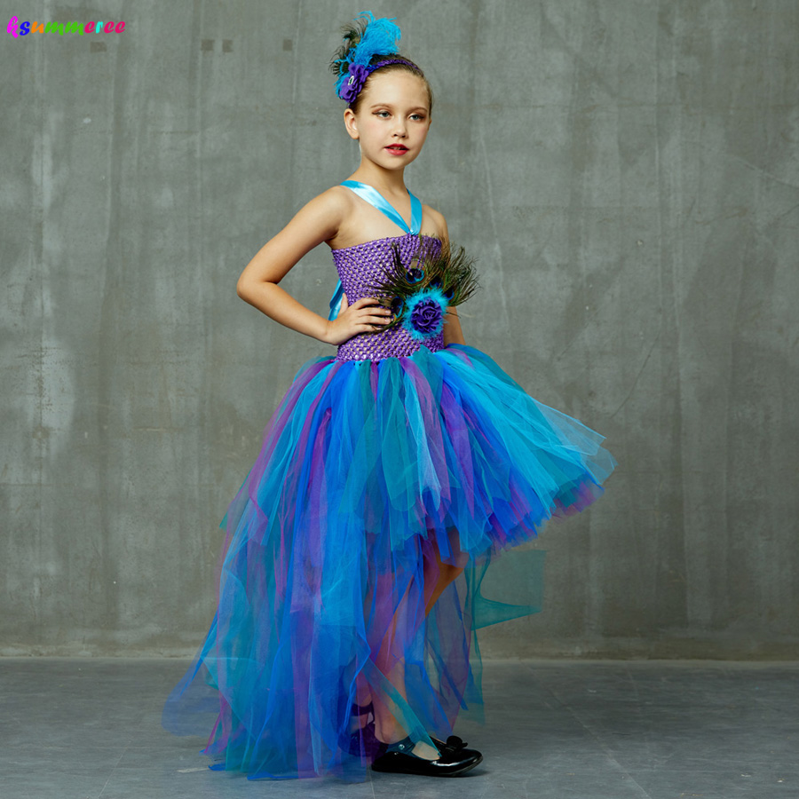 Peacock Tutu Costume Dress Child Girls Pageant Prom Ball Gown Princess Peacock Feather Halloween Birthday Party Train Dress 1