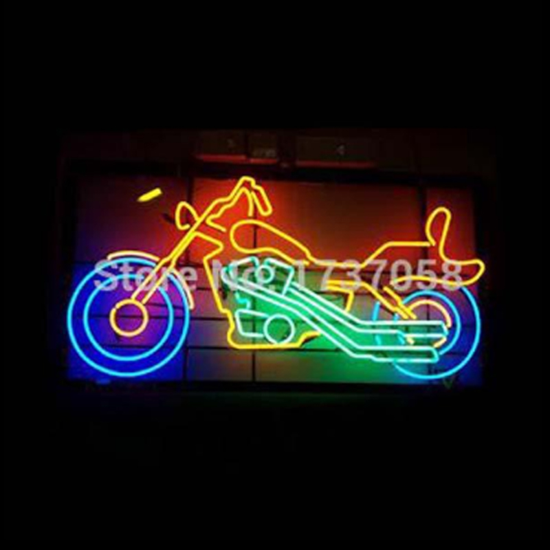 Motorcycle Motorbike Bike Race Neon Sign Real Glass Tube Bar KTV Store Shop Company Custom Advertise Display Neon Signs 19X12 image