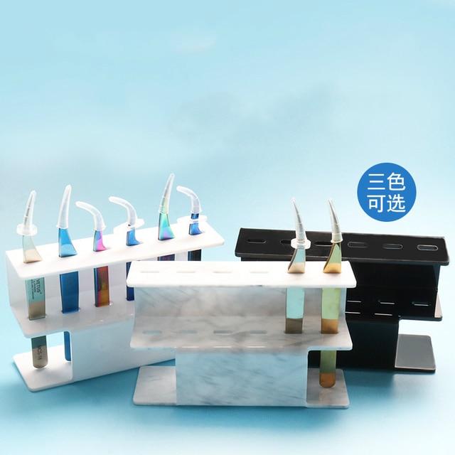 6 Slots Eyelash Tweezers Sort Storage Stand Acrylic Display Shelf 3 Colors Optional Makeup Supplies