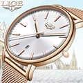 LIGE femmes montres haut de gamme marque de luxe étanche montre de mode dames en acier inoxydable Ultra-mince décontracté montre-bracelet à Quartz horloge