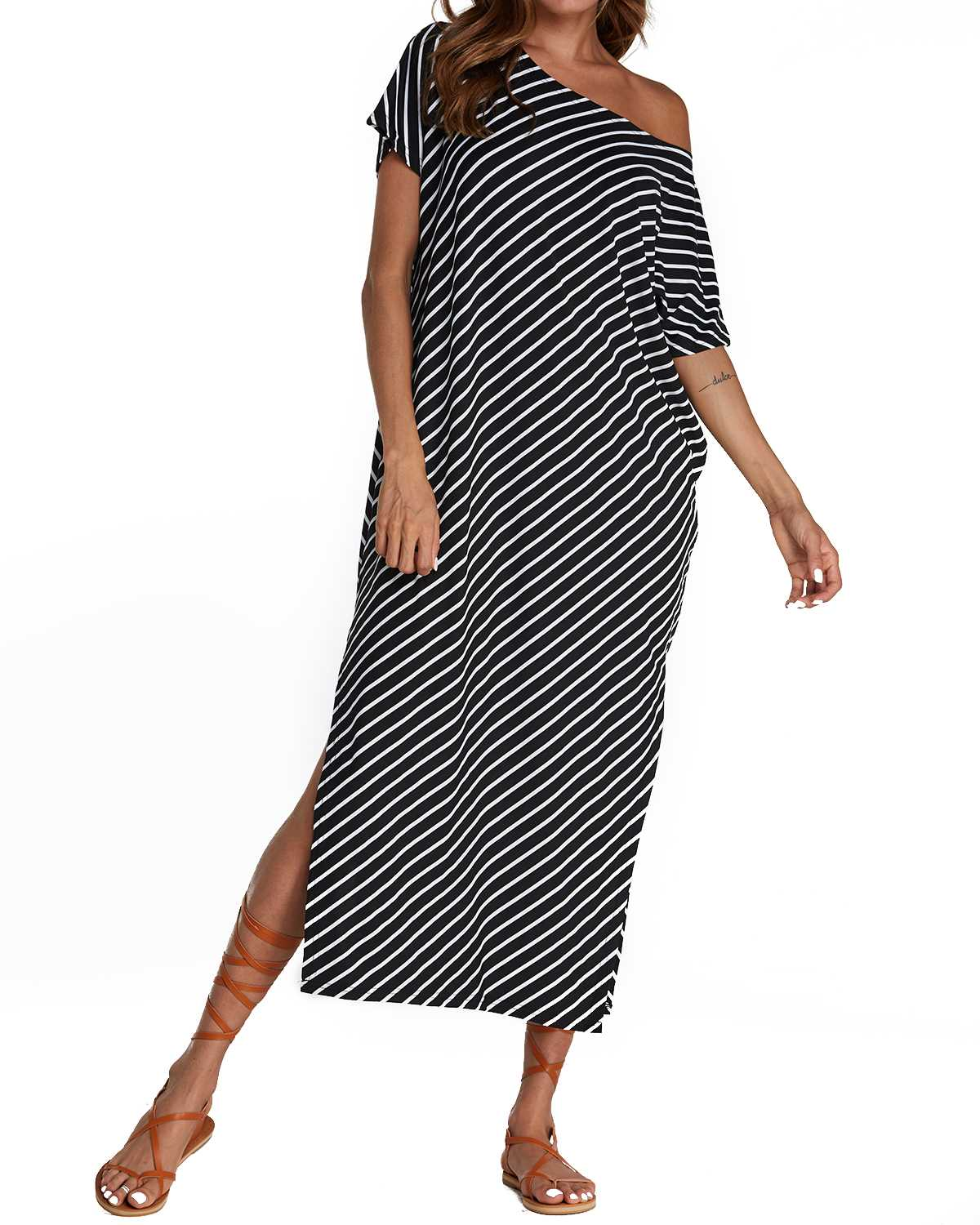 Women ZANZEA Summer Striped Split Shirt Dress Casual Half Sleeve Loose Beach Midi Dresses Ladies Round Neck Robe Vestidos Mujer