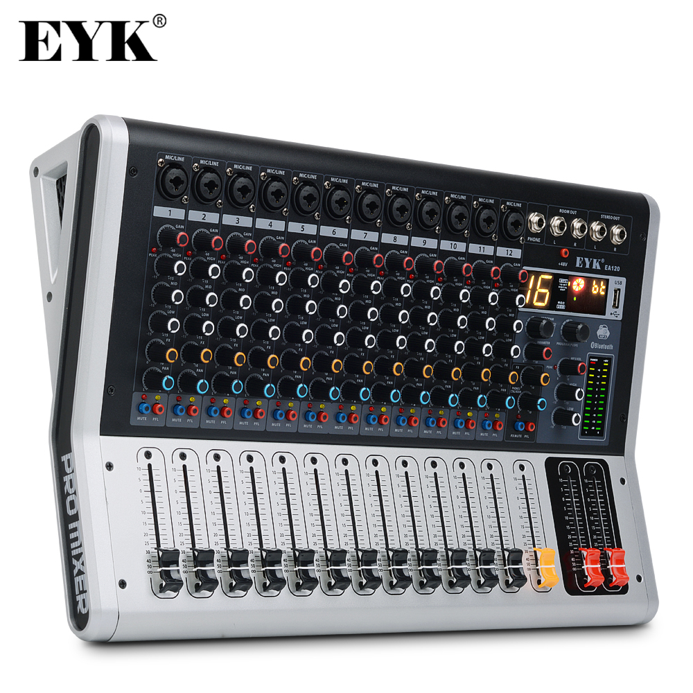 EYK EA120 Professional 12 Channel Mixing Console With Mute And PFL Switch Digital Display Bluetooth Record 3 BAND 16 DSP Effects
