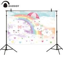 Allenjoy Fondo de nube de cielo para sesión fotográfica, colorido paraguas de corazón de arcoíris con sonrisa encantadora, decoración para fotografía