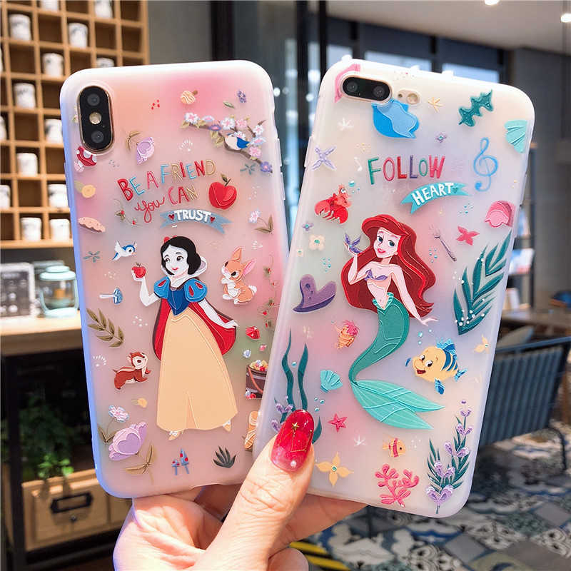 น่ารักการ์ตูน Snow White Cinderella Rapunzel Mermaid Princess Soft TPU สำหรับ iPhone XS Max XR X 6 6S 7 8 Plus