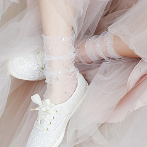 Image 3 - 春夏透明絹の靴下女性超薄型韓国スタイル靴下ファッションスパンコールピンクレースセクシーな圧着パイル靴下